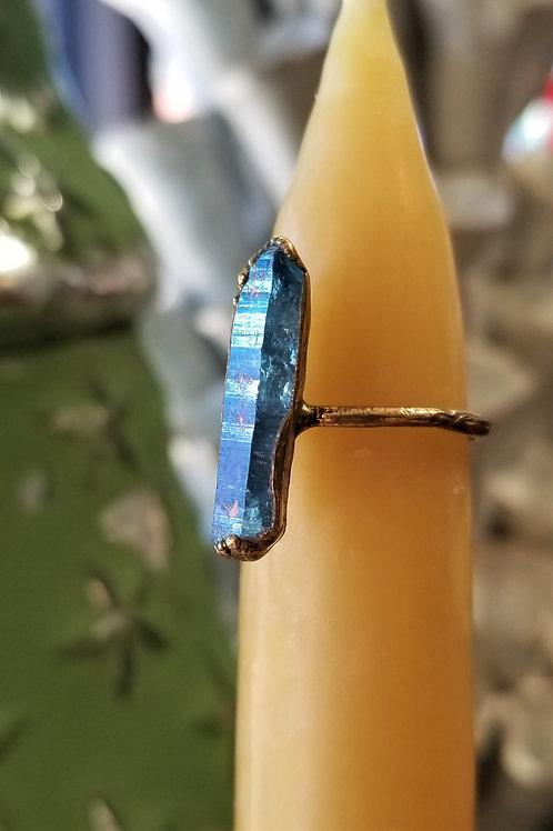 C & R Designs Aquaquartz Gold Plated Ring