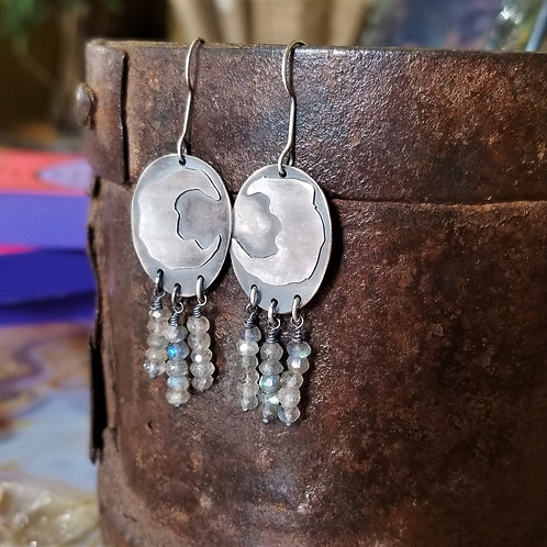 Feral Blue Sterling Moon Earrings with Labradorite