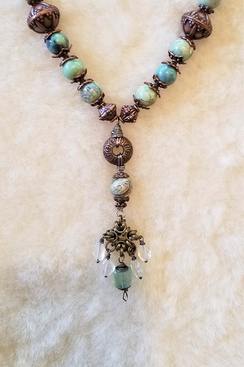 Joy of Wings Blue Agate & Copper Chainmaille Pendant Necklace