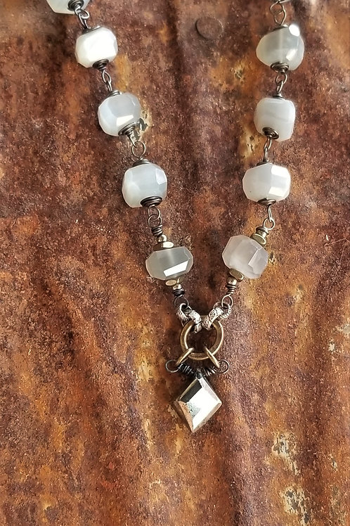 Joy of Wings Moonstone & Pyrite Necklace