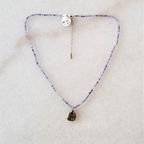 ChanLuu Iolite Necklace with Pyrite Pendant