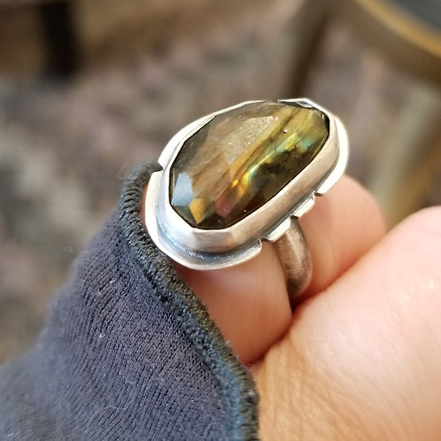Feral Blue Labradorite and Sterling Ring size 5