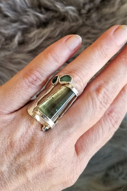 C&R Designs One of a Kind Fine Silver Prehnite Ring