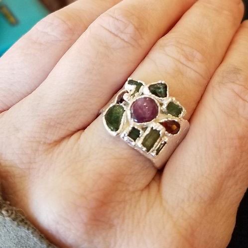C&R Designs Multi Stone Fine Silver Ring size 10