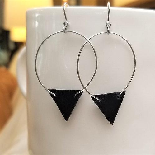 Betty Lou Black Leather Earrings
