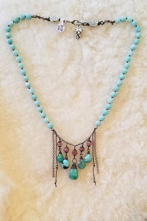 Joy of Wings Amazonite & Rasberry Quartz Necklace