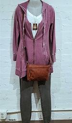 XCVI Merchantile Jacket, Plume and Thread Tee, WashLab Jeans, Jack Georges Bag, and Boo Bug Necklace