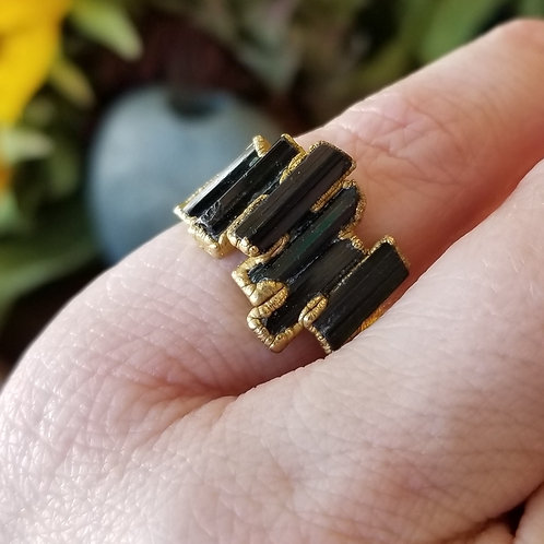 C&R Designs Tourmaline Gold Plated Ring size 6.5