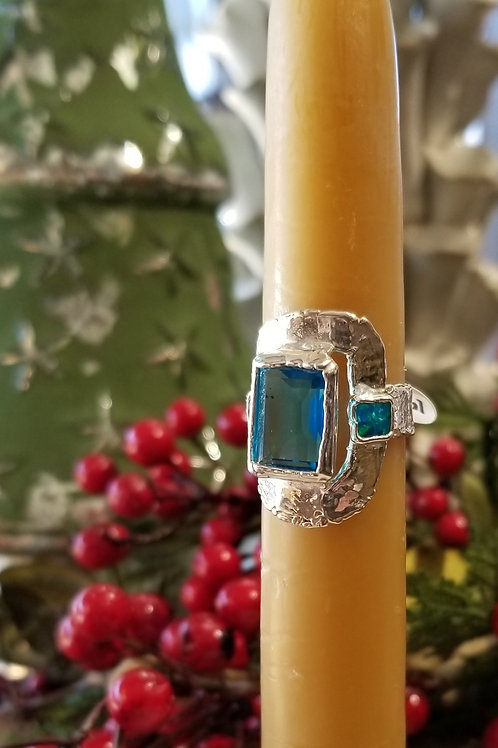C & R Designs Blue Quartz and Opal Fine Silver Ring