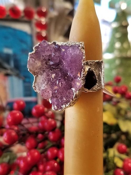 C & R Designs Fine Silver Amethyst and Garnet Ring