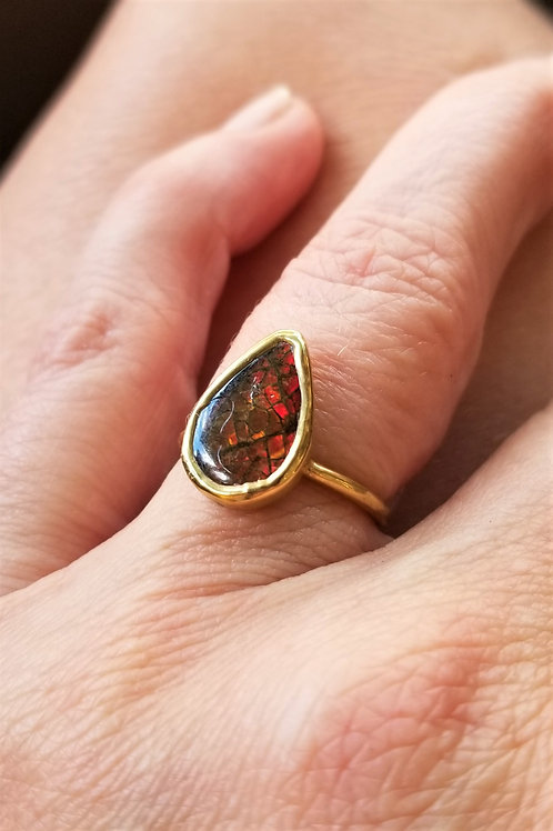 C&R Designs Gold Plated Teardrop Ring