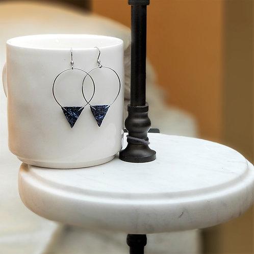 Betty Lou Leather Blue Earrings