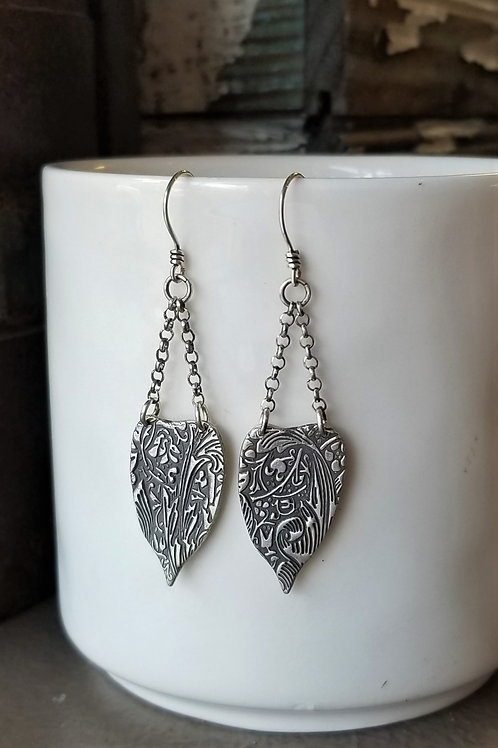 Texture & Tarnish Pothos Leaf & Chain Earrings