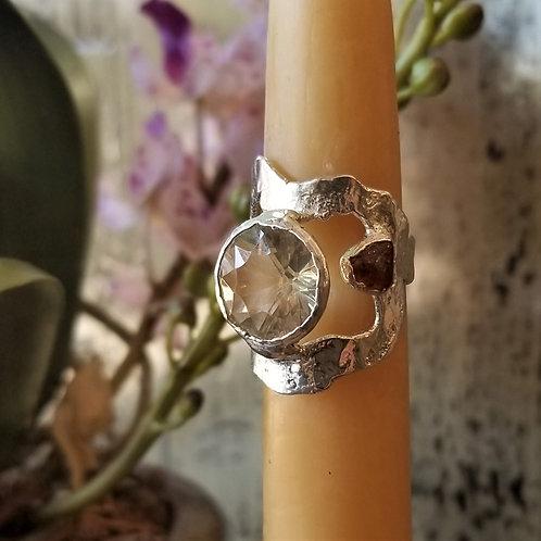 C & R Designs White Topaz and Sunstone Fine Silver Ring