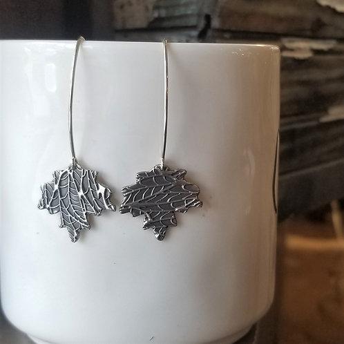 Texture & Tarnish Maple Leaf Charm Dangle Earrings