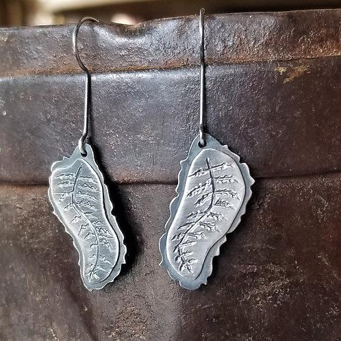 Feral Blue Fern Dangle Earrings