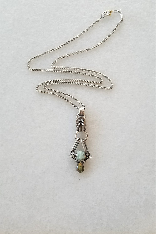 Joy of Wings Antique Silver and Labradorite Necklace