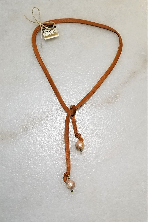 The Mermaid's Pearl Leather & Pearl Lariat Necklace (Short)