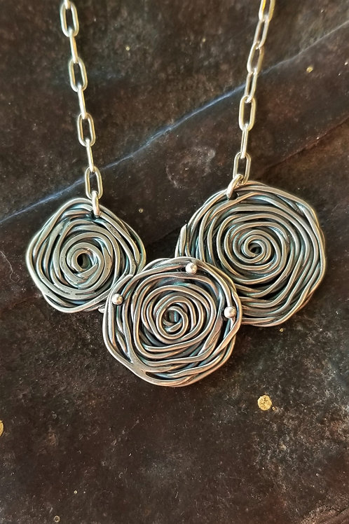 Karen Wright Jewelry 3 Rose Sterling Silver Necklace