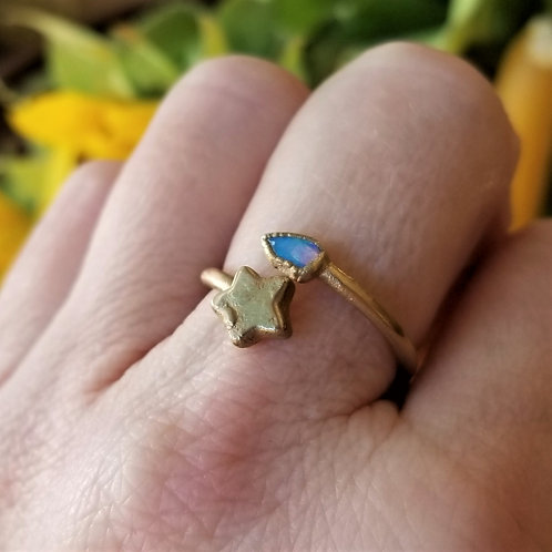 C&R Designs Opal and Gold Plated Star Ring