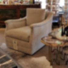 LEE Industries 3703-01SW Swivel Chair in Cotton Velvet Sanibel Dune
