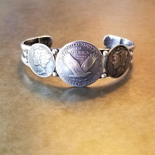 Peyote Bird 3 Coin Cuff Bracelet