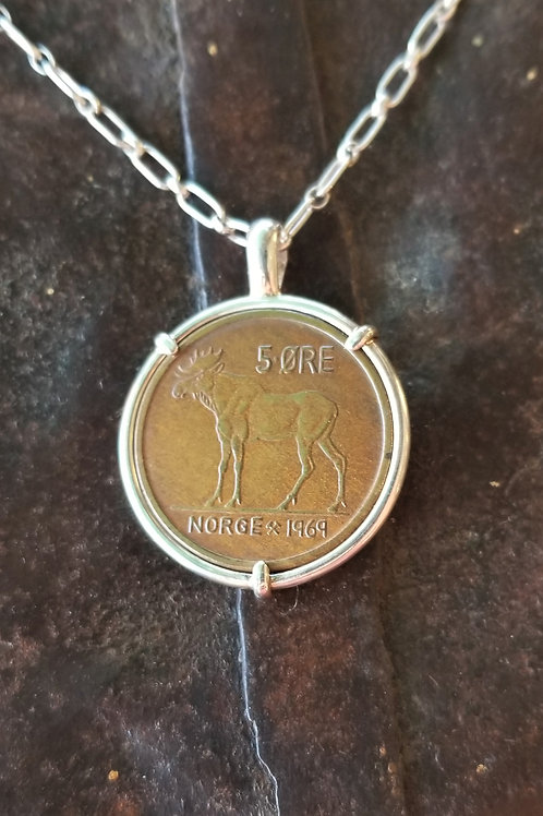 Karen Wright Jewelry Norway Moose Coin Necklace