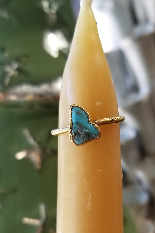 C & R Designs Turquoise Gold Plated Ring