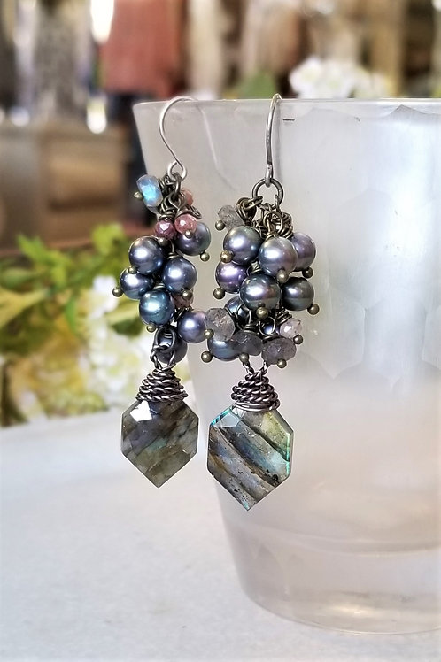 Joy of Wings Pearl & Labradorite Earrings