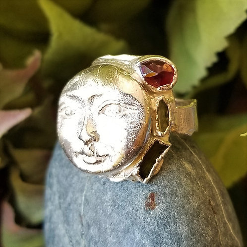 C&R Designs Fine Silver Moon and Tourmaline Ring size 10