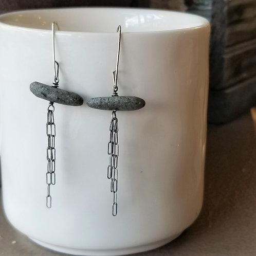 Texture & Tarnish Charcoal Stone & Tassel Earrings
