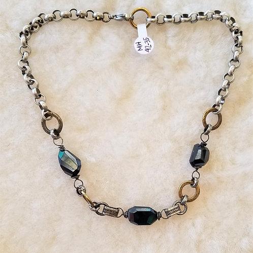 Joy of Wings Black Onyx Mixed Metal Necklace