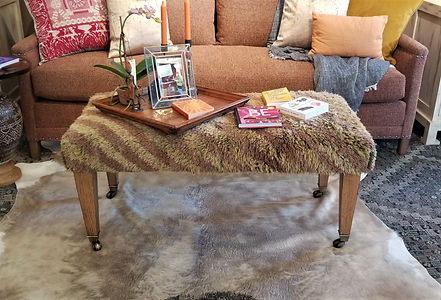 LEE Industries Vintage Rug Ottoman and 1935 Apartment Sofa