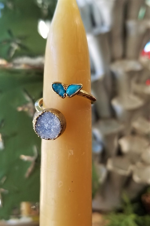 C & R Designs Drusy and Turquoise Gold Plated Ring