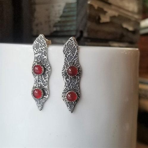 Texture & Tarnish Carnelian Pea Pod Stud Earrings