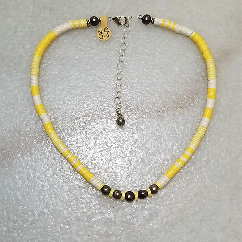 The Mermaid's Pearl Yellow Record Bead Necklace