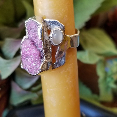 C&R Designs Drusey and Moonstone Fine Silver Ring size 8.5