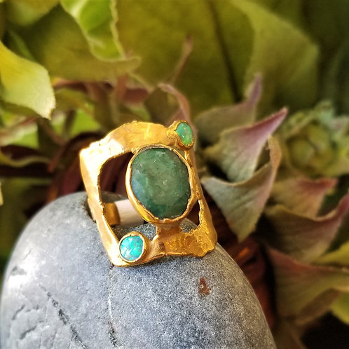 C&R Designs Jade and Opal Gold Plated Ring size 9.5