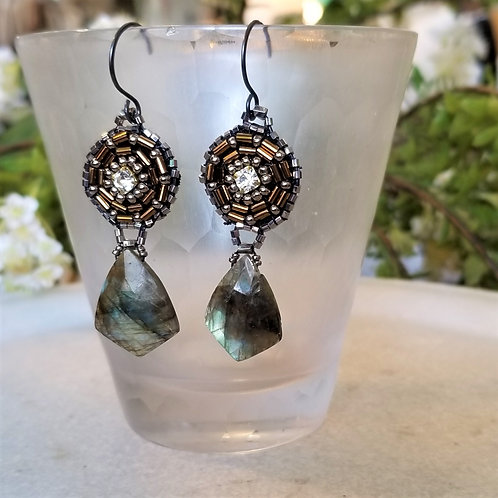 Joy of Wings Handbeaded Labradorite Earrings