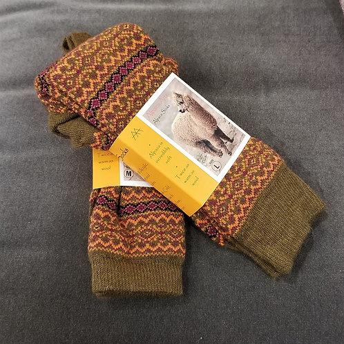 Tey Art Alhambra Striped Alpaca Socks- Olive