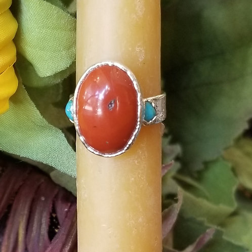 C&R Designs Jasper & Turquoise Fine Silver Ring size 7