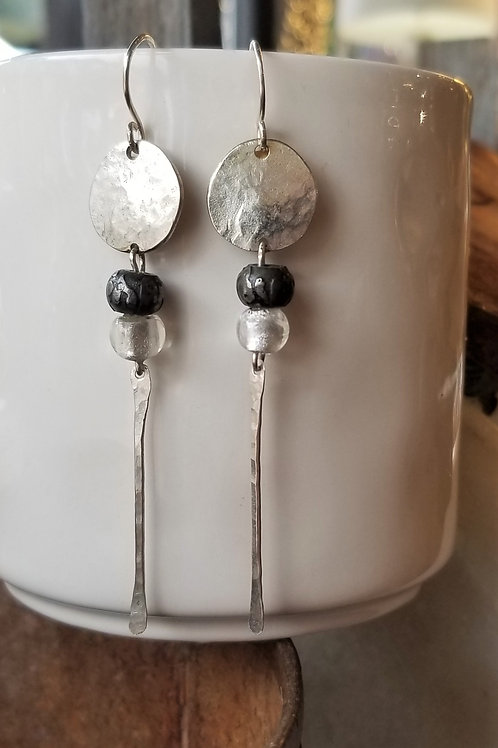 ObscurO Jewelry Silver & Iron Earrings