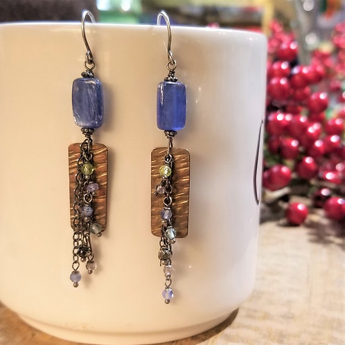 Amy's Accessories Kyanite, Brass and Mixed Stones Earrings