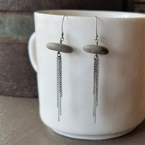Texture & Tarnish Taupe Stone & Tassel Earrings