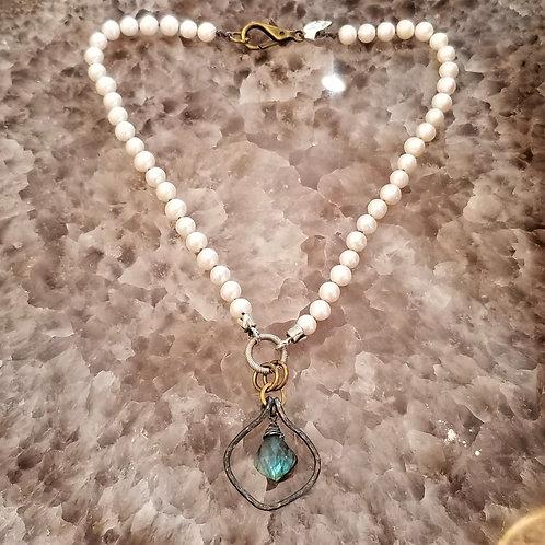 Joy of Wings Labradorite & Pearl Necklace