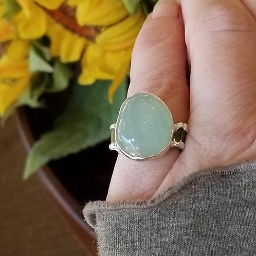 C&R Designs Prehnite and Tourmaline Fine Silver Ring size 6.25