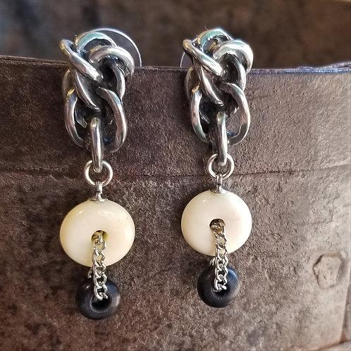 Farhenheit Bone & Pewter Clip Earrings