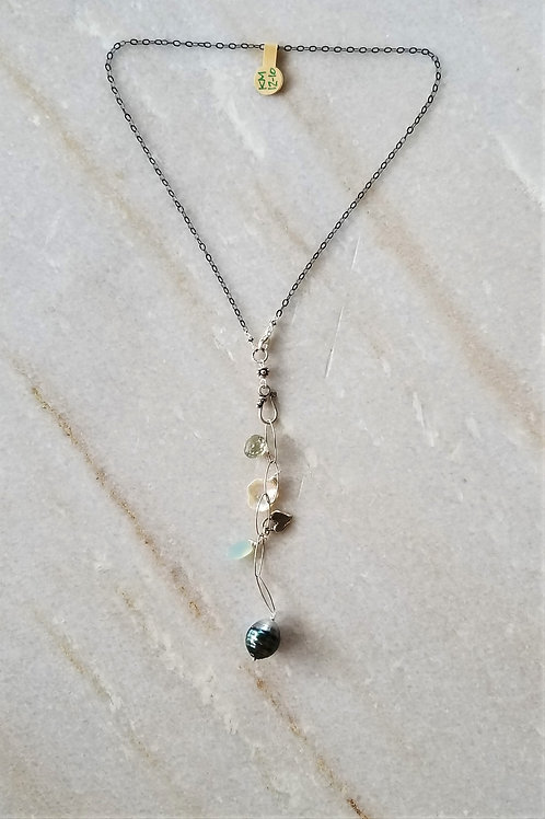Luna Mar Oxidized Necklace with Oval Chain Drop