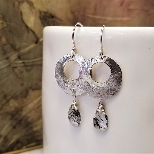 ObscurO Sterling and Tourmalated Quartz Earrings