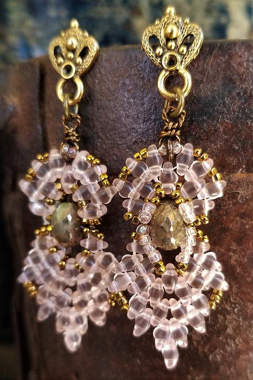 Joy of Wings Pink, Gold & Pyrite Beaded Post Earrings
